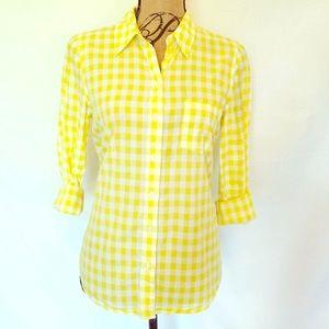 Fun Gap boyfriend cut yellow checkered shirt sz M